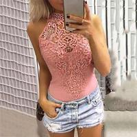 Women Solid Lace Splicing Hollow Out Tank 2018 Fashion 4 Colors Long Clothing O Neck Top