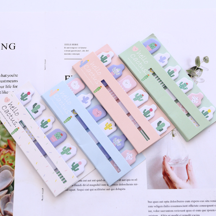 Sunshine Cactus Self-Adhesive N Times Memo Pad Sticky Notes Bookmark School Office Supply цена и фото