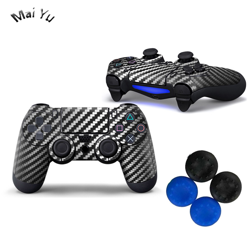 Professional 2 Pics PS Games Controller Stickers with Controllers Cap Carbon Fiber Skins for Playstation 4 PS4 Pro Game -0012 image