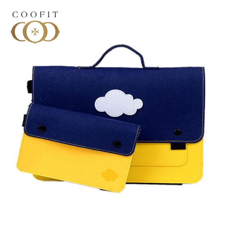 Coofit Laptop Briefcase Set 2 Pcs Cute Cartoon Pattern Men Women Felt Office Briefcase Business Bag With Laptop Charger Case