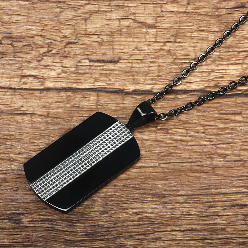 Again Jewel 316L Stainless Steel Dual American Soldiers Titanium Steel Dog Tag Wholesale Free Chain Men Jewelry