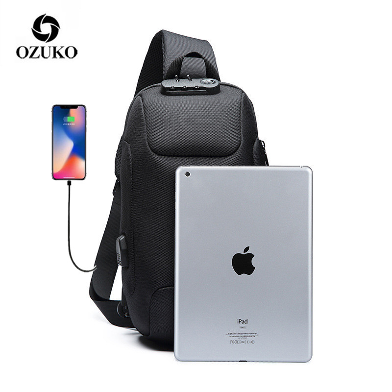 OZUKO Multifunction Crossbody Bag For Men Anti-theft Shoulder Messenger Bags Male Waterproof Short Trip Chest Bag Pack New
