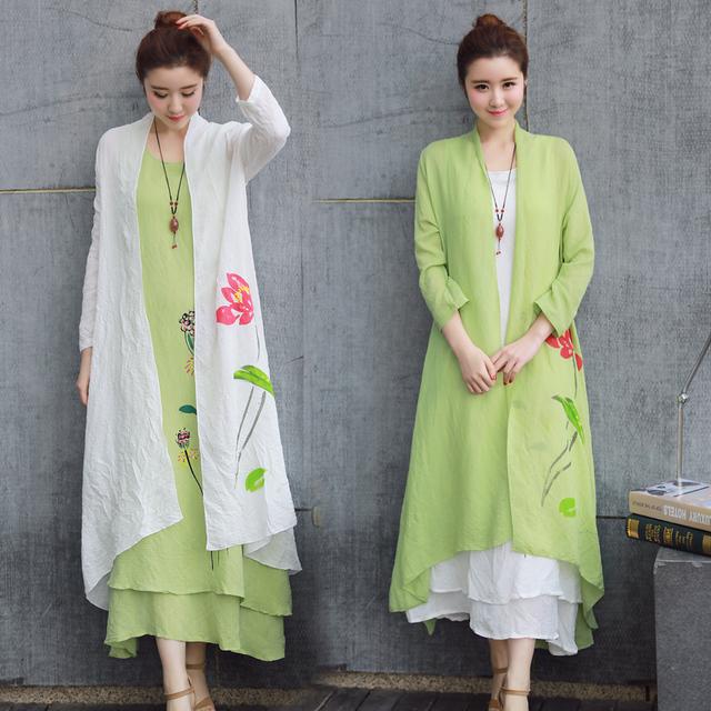 Trench Coat de verão V Do Pescoço Solto Casual Mulheres Outwear Algodão linho de Manga Longa Floral Fino Trench Coat para As Mulheres Longos casaco