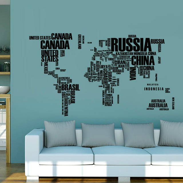 60*90cm Quote Removable Letter World Map Vinyl Decal Art Mural Home Decor Wall Stickers For Kids Room School Office Decoration 4
