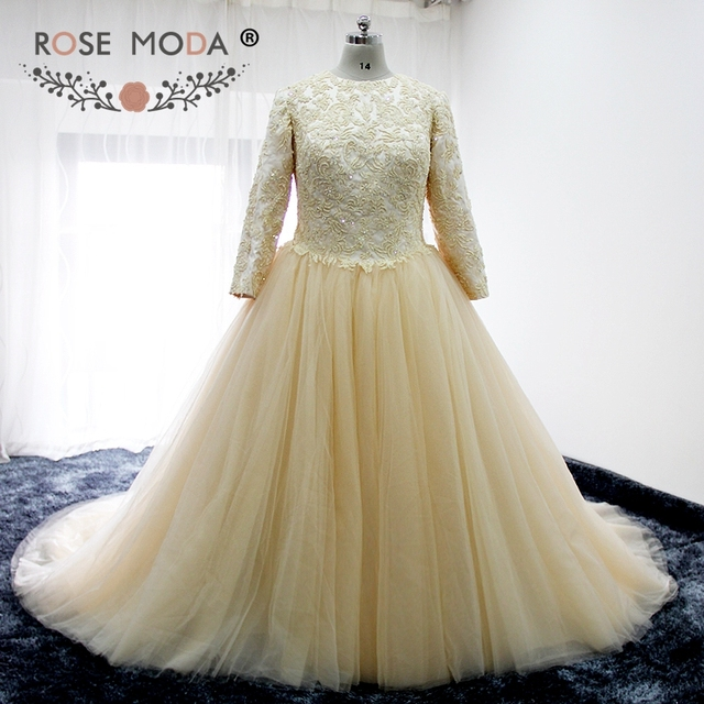 Rose Moda Vintage High Neck Long Sleeves Champagne Hochzeitskleid ...
