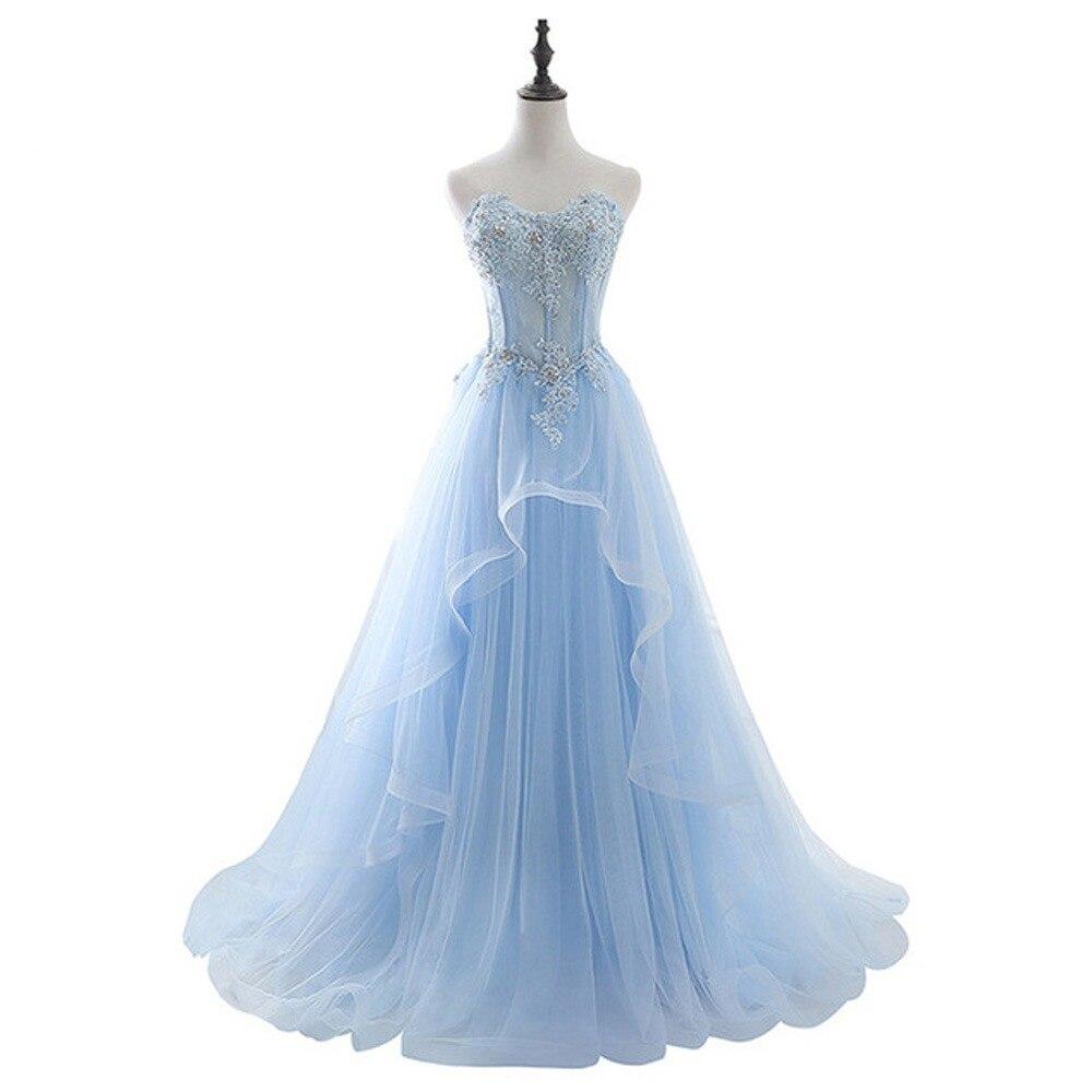 552d5b2299 Vestido De Festa światła niebieski koronowa z dekoltem typu sweetheart  Tulle długa suknia 2018 Party Sexy