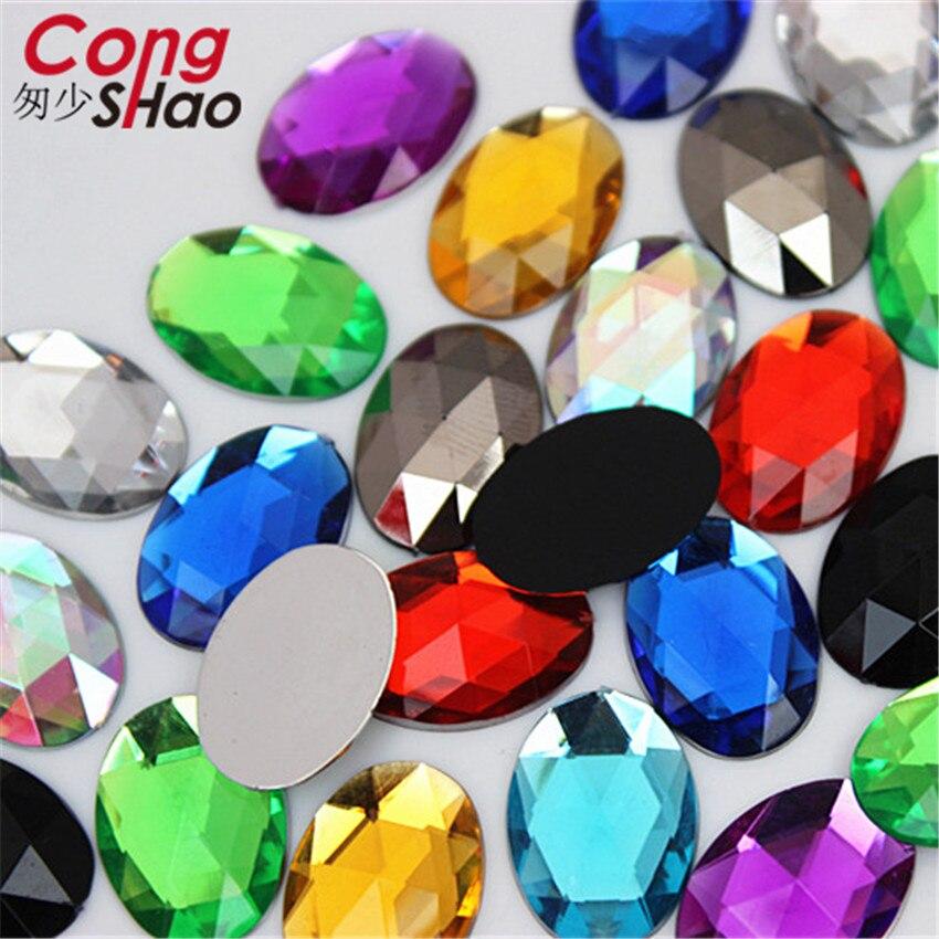 Купить с кэшбэком Cong Shao 100Pcs 13*18mm Oval Shape Crystal  Acrylic Rhinestone trim Flatback Stone for DIY Clothing Craft Accessories YB205
