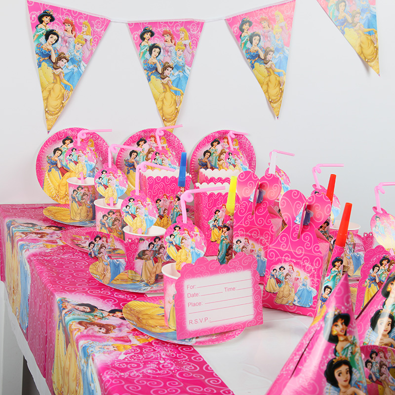 <font><b>Princess</b></font> <font><b>Party</b></font> Set for 10 kids Baby Birthday <font><b>Party</b></font> Supplies Pack Banner Event <font><b>Party</b></font> Decoration Tableware Set 105pcs image