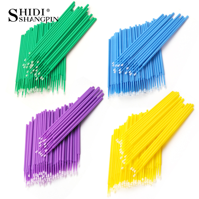 SHIDISHANGPIN 100 PCS Einweg Make Up Wimpern Mini Einzelne wimpern Applikatoren Mascara Pinsel Lash Extensions Baumwolle Tupfer