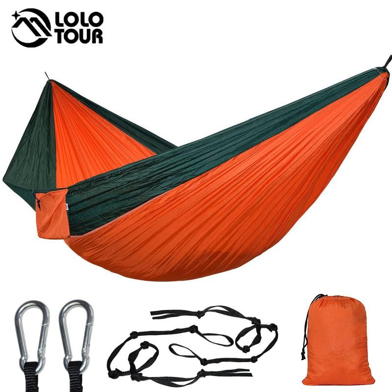Ultra-large Double Parachute Hammock 2 Camping Leisure Patio Garden Terrace Sleeping Hamaca Hamac 300*200cm 118*78 Inch