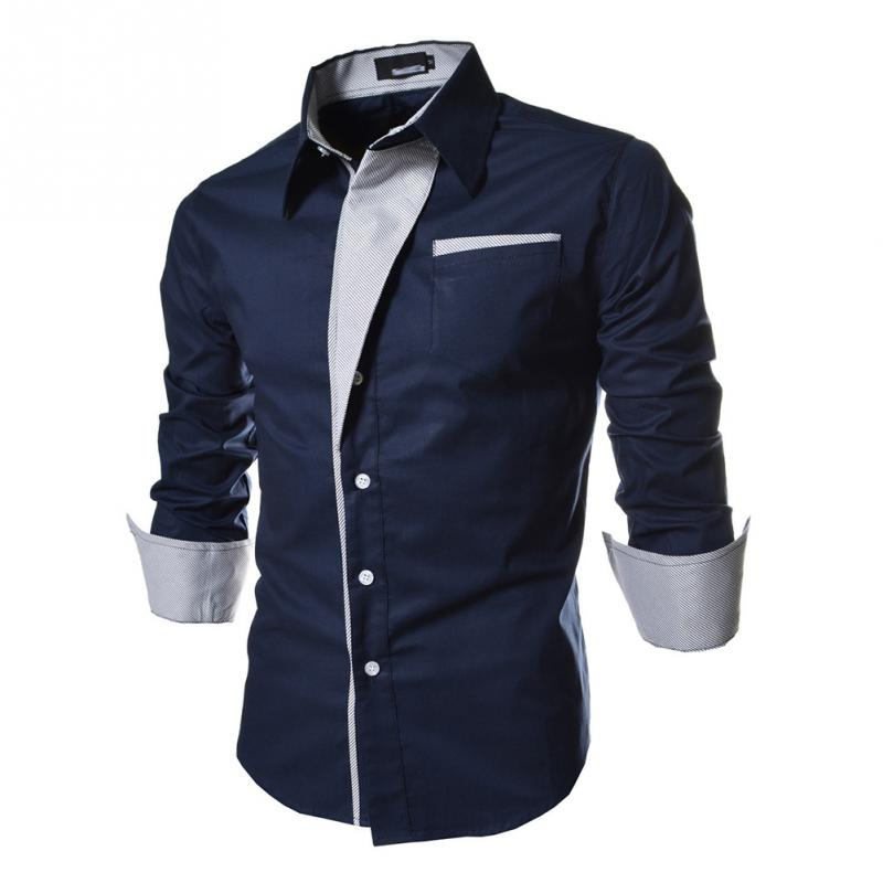 Male Blouse Shirt Business-Dress Social Plaid Slim Big-Size Long-Sleeved Fashion Men