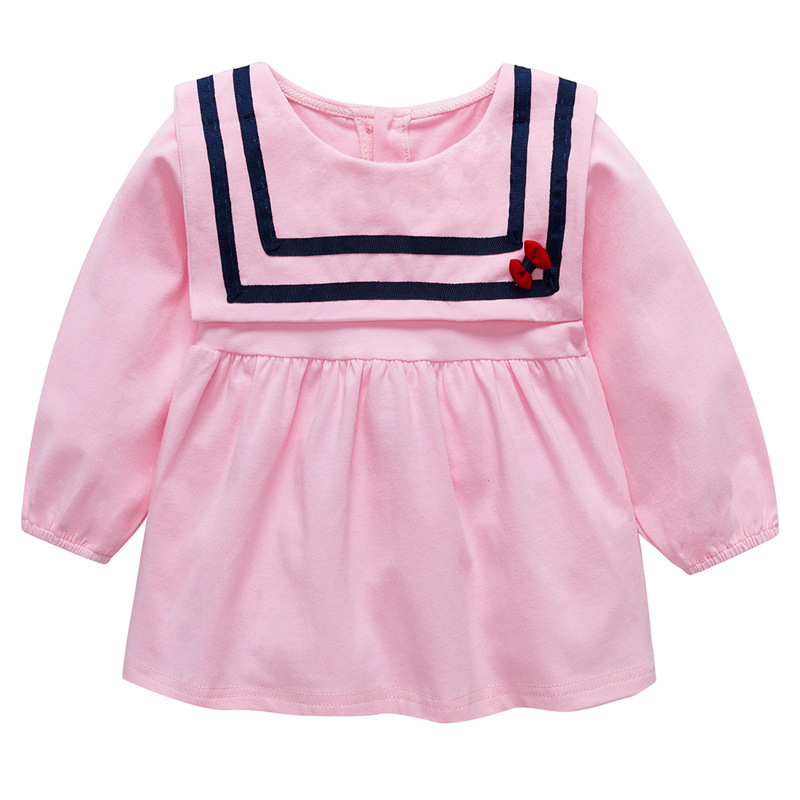 Girls Dress 2018 Autumn Baby Clothing Doll Collar Cotton Girl Dress Cute Solid Long Sleeve Girl Princess Dresses For 0 2 Age