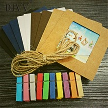 DIVV Top Grand 10pcs Porta Retrato Creative Home Decor DIY Wall Paper Photo Frame Wall Picture Album+Hanging Rope+Wooden Clip(China)