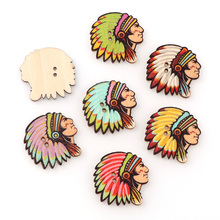50pcs Bulk Wooden Indian Avatar Shape Buttons For Craft Mixed Scrapbooking Accessories Products 3031mm