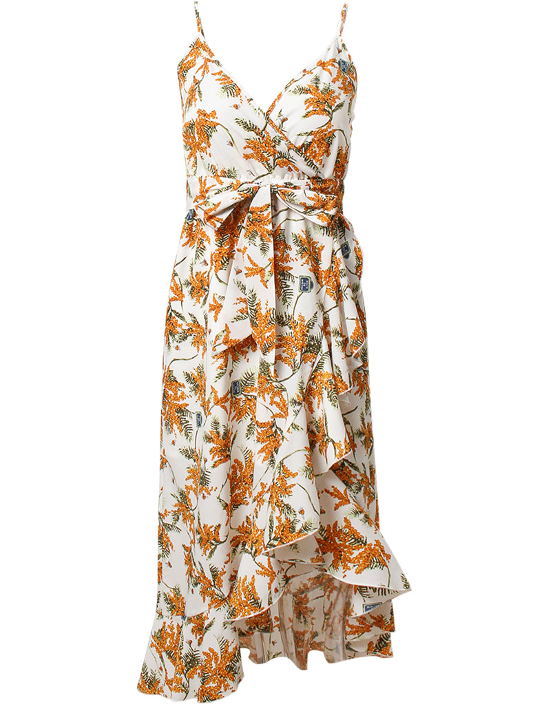 Women Floral Print White Sleeveless Boho Style Beach Dress