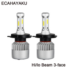 ECAHAYAKU 2x S2 H4 H7 H11 H1 Car LED Headlight Bulbs 72W 9005 9006 9007 H3 9004 H13 COB Automobile Headlamp 6500K 12V 24V
