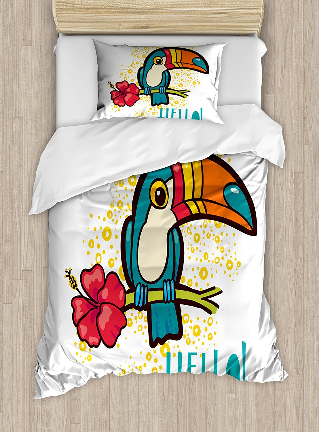 Hello Duvet Cover Set A Tropical Hello from Hawaiian Island Ramphastidae Toucan Bird with Hibiscus Flower Decor 4pcs Bedding Set