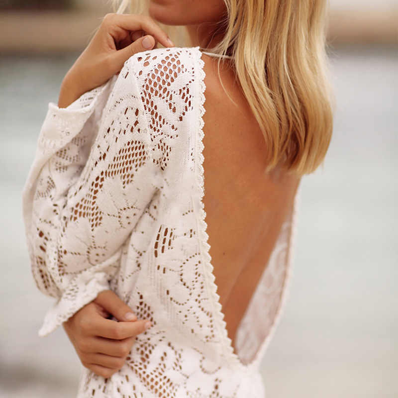 f3de5d80d6a1a Sexy lace beach dress V neck backless long sleeve Beachwear Swimsuit  Swimwear split Cover-Ups Summer tunic Floral saida de praia