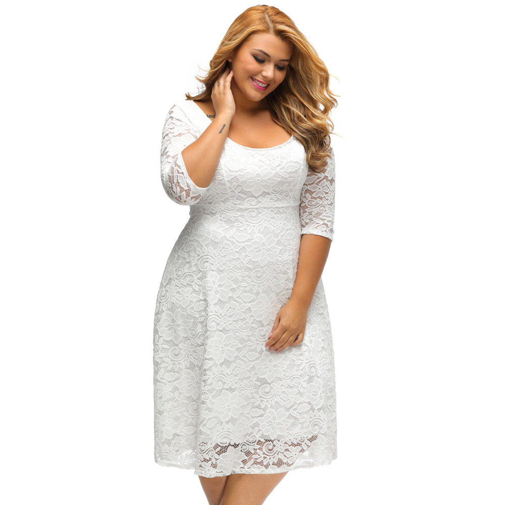 White Plus Size 3/4 Sleeves Summer Lace Dress