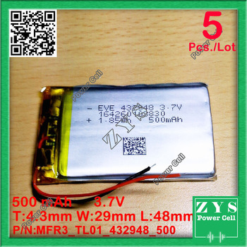 5 pcs/Lot 422948 3.7V 500mah Lithium polymer Battery 3.7 v 500 mah