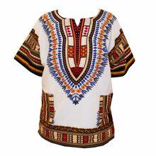 (Transporte rápido) novo design de moda africano tradicional impresso 100% algodão dashiki t-shirts para unissex (feito na tailândia)