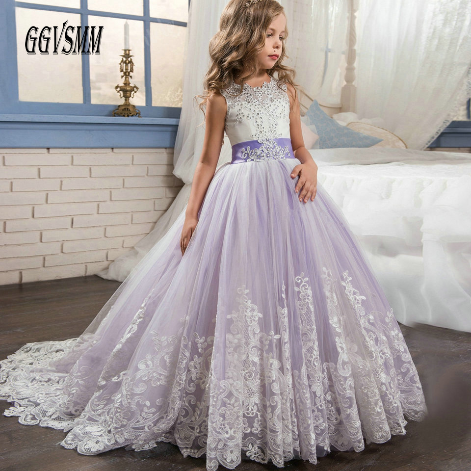 Fashion Lilac Flower Girl Dresses For Wedding Party 2019 Kids Evening Gowns Girls Pageant Tulle Appliques