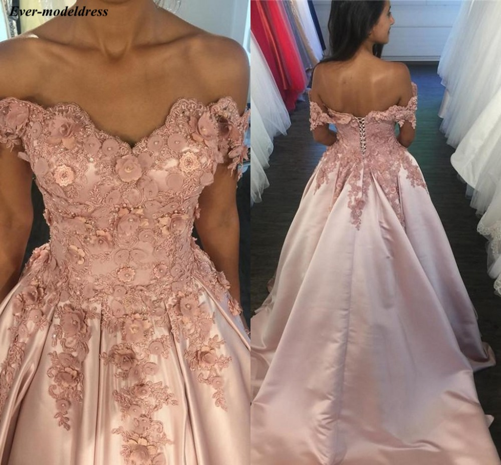 Pink Off Shoulder   Prom     Dresses   2019 Lace Appliques 3D Flowers Beaded Lace Up Back Long Party Gowns Robe De Soiree Cheap