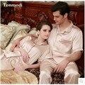 New Women Silk Pajamas Luxurious Short sleeve Love Sleepwear Mens Satin Pyjamas Women's Lounge Couple Pajama Sets Plus Size 3XL