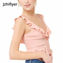 women camisoles tank plain feminina mujer ruffle sleeves tops shirts V neck strap backless sexy summer chalaza top camis