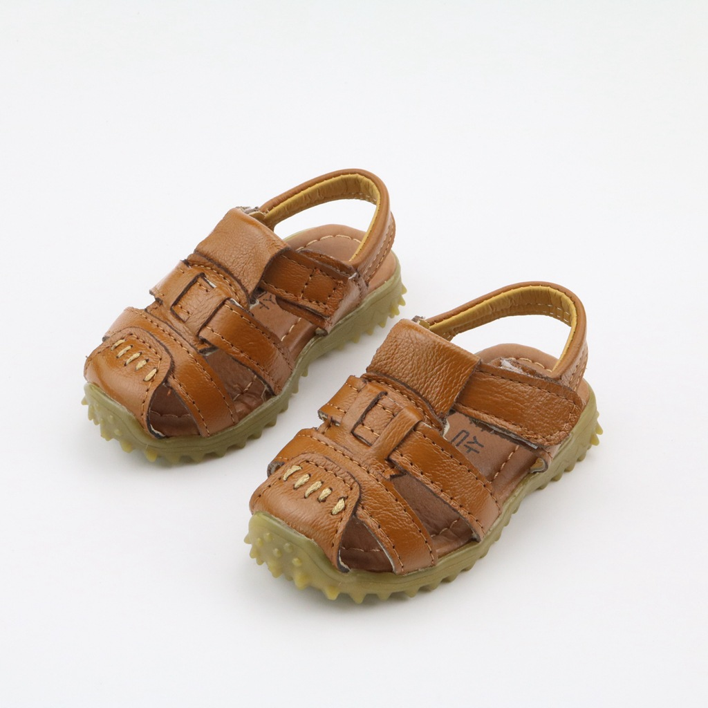 2018 Genuine Leather Sandals Boys Soft Leather Summer New Boys Beach Sandals Childrens Shoes Kids Roman Sandals