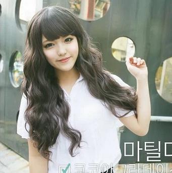 Long Black Wavy Wigs Curly Black Cute Face Long Little Wavy Hair