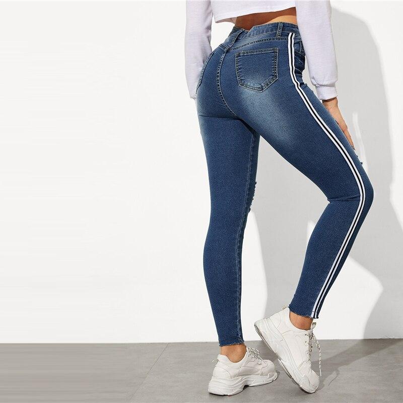 SweatyRocks Stripe Side Ripped Skinny Jeans Leisure Stretchy Long Denim Pants 19 Spring Women Streetwear Casual Blue Jeans 17