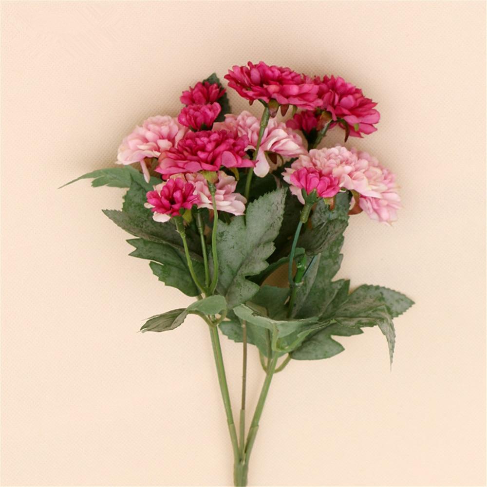 6pcs Lot Silk Stamen Daisy Rose Artificial Flower Bouquet For Wedding