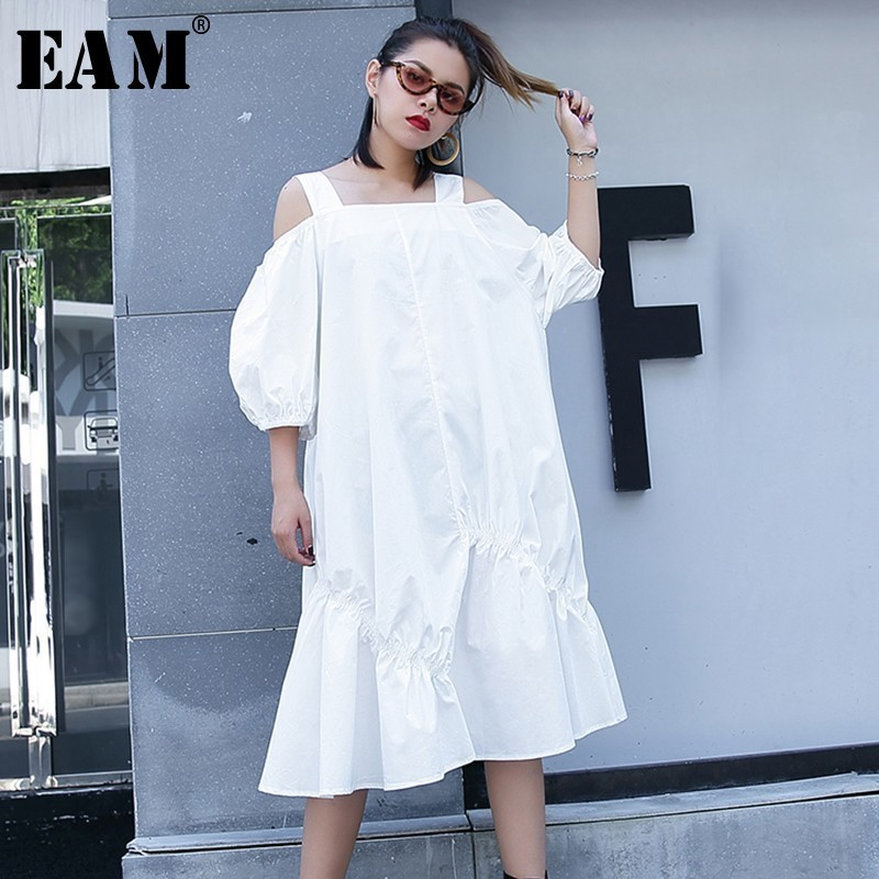[EAM] 2018 New Summer 3 Style Slash Neck Puff Sleeve Loose Casual Big Size Strapless Pleated Dress Women Fashion Tide LA46