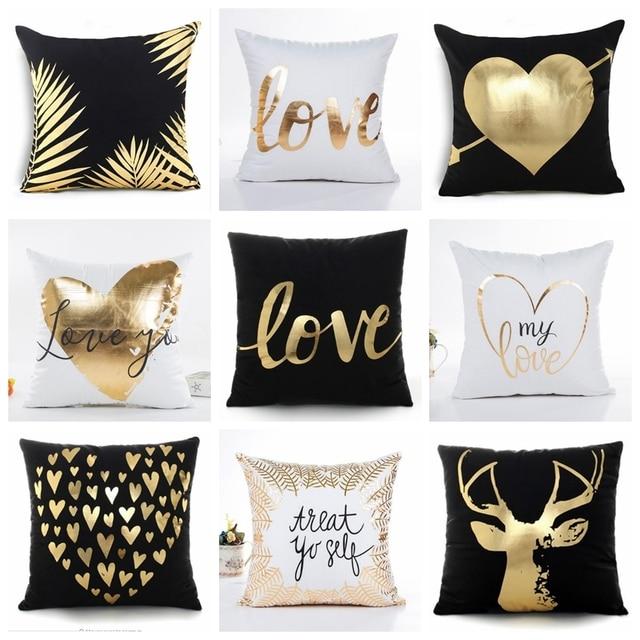 Bronzing Cushion Case Decorative Pillow Black And White Golden Love Leaves  Geometric Printed Home Decor Christmas  Sofa