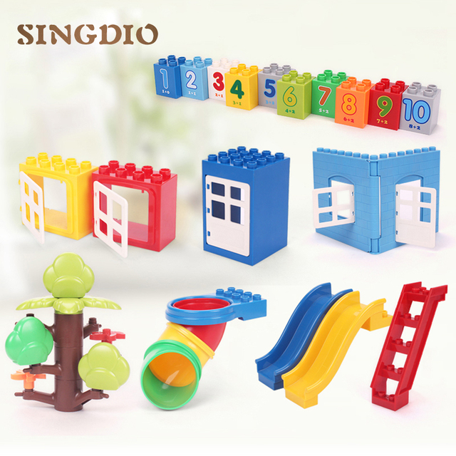 SINGDIO Building Blocks Assembled Toy House Slide Table Educational Toys  For Children Compatible With Dduplo Christmas