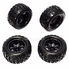 4 Pieces RC Monster Truck Wheels Tires Complete Foam Inserted Hex 12mm For 1 10 Scale