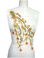 A85 Hand made dazzling golden/clear AB colour sew on Rhinestones applique Peacock Shape crystals trim patches 43*22cm dress
