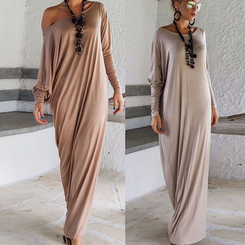 e2d11a3bf9b9 2018 New Brown Loose Maxi Dress Solid Women Casual One Shoulder Long Sleeve  Elegant Party Long Dresses Vestidos e9025-in Dresses from Women s Clothing  on ...