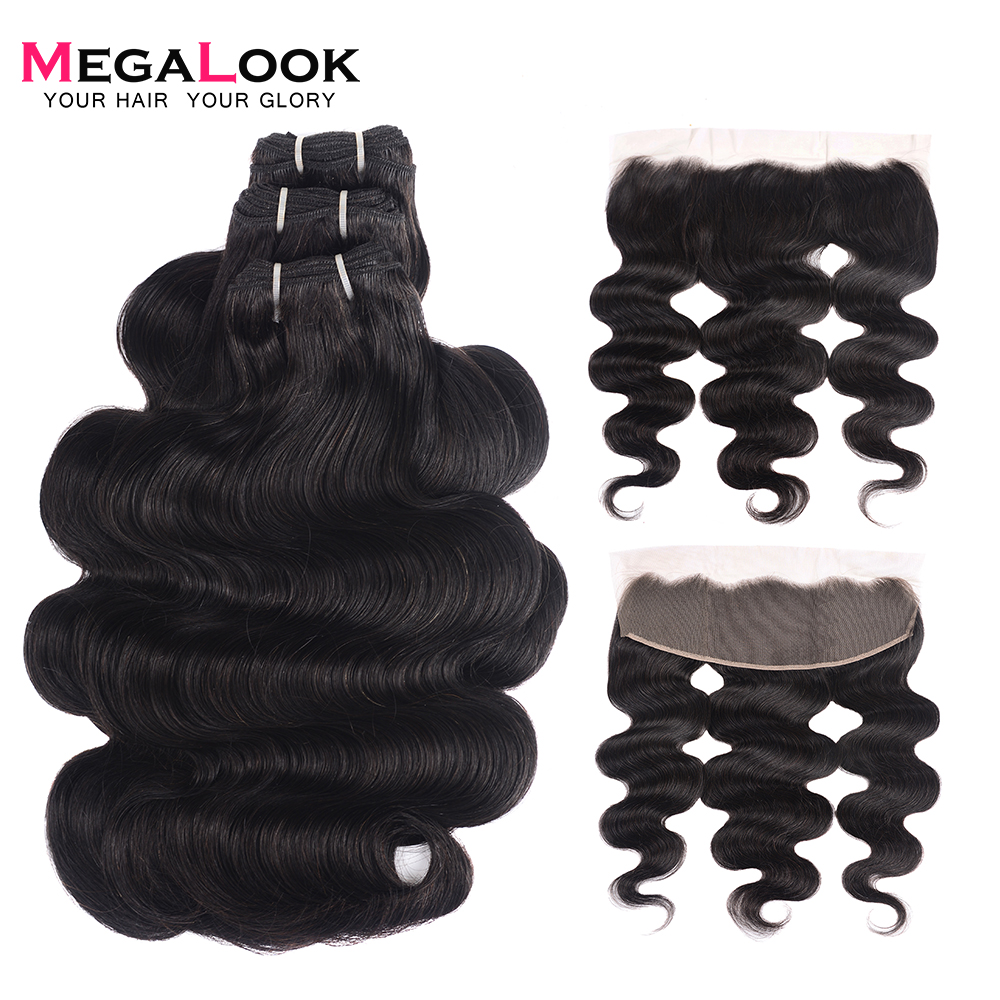 300g Brazilian Double Drawn Body Wave Human Hair Bundles with Frontal Can Make into Wig 100