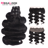 300g Brazilian Double Drawn Body Wave Human Hair Bundles with Frontal Can Make into Wig 100% Remy Human Hair Weave with Frontal
