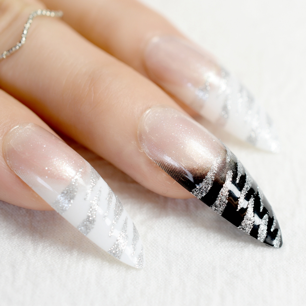 Extra Long Pointed Pre designed Nails Black White Zebra Bent Press ...