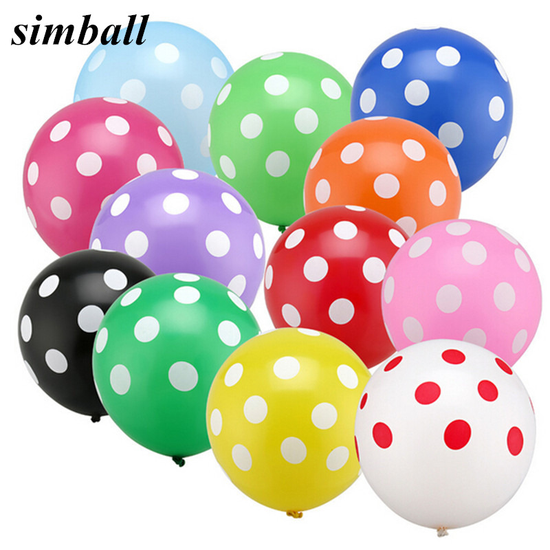 50pcs/Lot Latex Balloons 12 Inch Polka Dot Wedding Decoration Supplies Minnie Mouse Birthday Party Supplies Balloons Multicolor