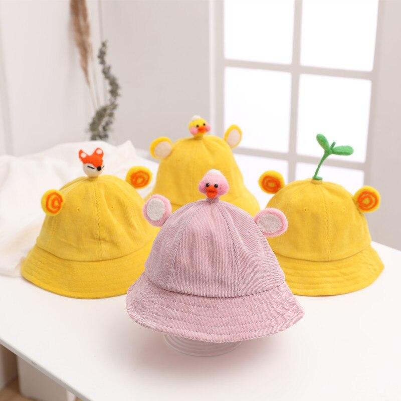 Neu Kinder Hut Cut Cord Bohnen Sprossen Fischer Hut Kaninchen Ohren Junge Mädchen Baby Cartoon Becken Hut Herbst Winter Eimer Hut