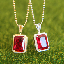Men's Trendy Iced Out Hip Hop Pendant Necklace Jewelry Gold Color Red black micro pave Big Square Stone Pendant Chain Necklace