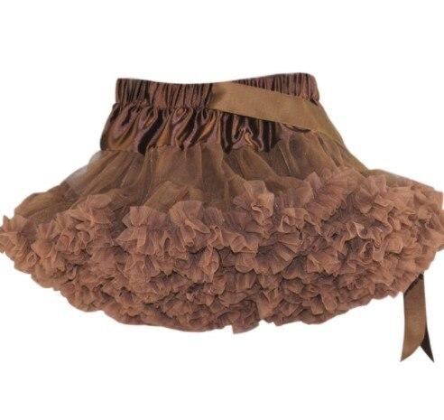 Детские Нижние юбки для девочек юбка-пачка Нижняя юбка для девочек девочки пачки, миниатюрные юбки шифоновая юбка воздушная юбка подростковая одежда для девочек - Цвет: Коричневый