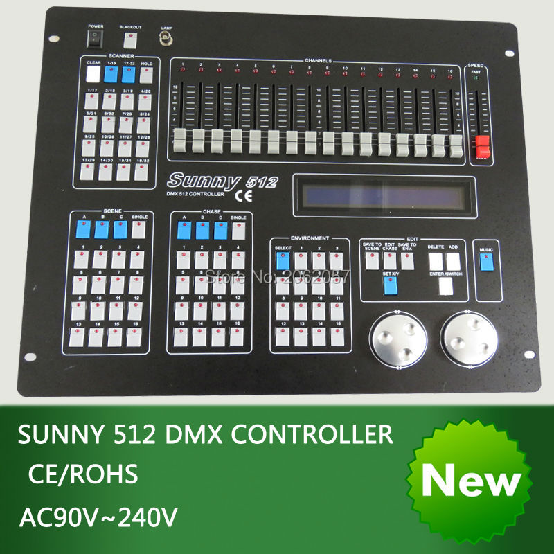 New sunny 512 dmx controller DJ computer professional stage light controller moving head beam light console with fly case