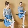 Algodón de Moda de Maternidad Vestido de Enfermería Lactancia Ropa Denim Cómodo Polka Dot Ropa para Mujeres Embarazadas B157
