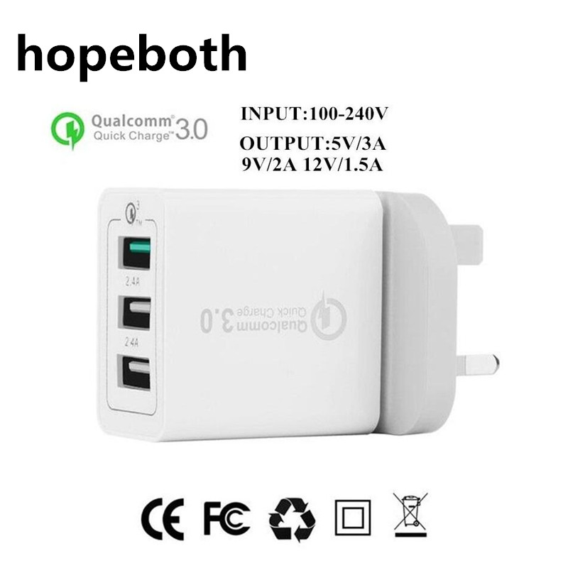 hopeboth 3 Port USB Charger Quick Charge 3.0 Fast Charger QC3.0 UK Plug USB Adapter 30W Portable Wall Charger for Samsung S6 S7