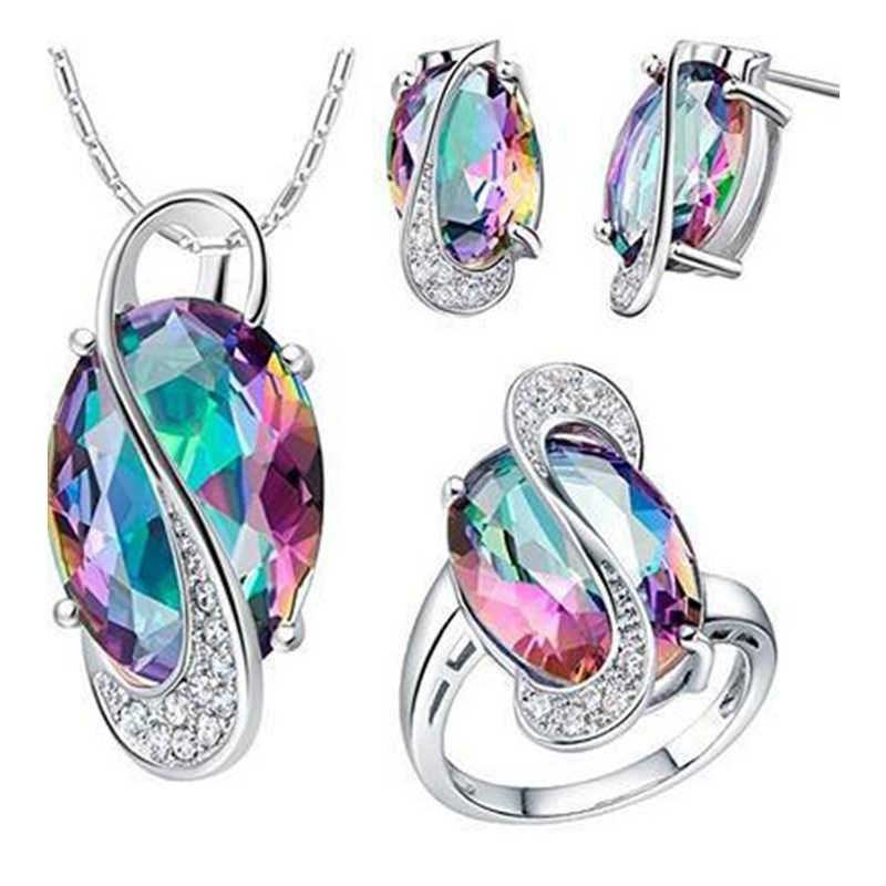 Blucome Mrico Paved Zircon Colorful Jewelry Sets For Women Girls Silver color Wedding Bridal Pendant Necklace Earring Ring Set